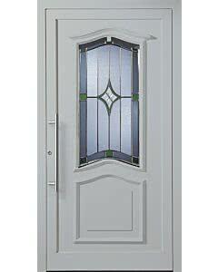 Bleiverglasung B23 Facettenmotiv, Eisblumenglas und Antik 75 mittelgrau, mittelgrün, dunkelgrün, Edelstahl-Stangengriff. Tür RAL 7038, (diese oder Ihre Wunschfarben gegen Aufpreis). Ausführung Glasfalz.
