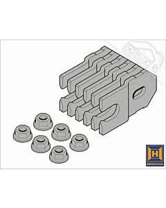 Hörmann Element mit Eckzarge für die verdeckte Montage in Sichtbetonwände und Sichtmauerwerk, Hörmann Befestigungslaschen und Futterstücke, 6 Laschen