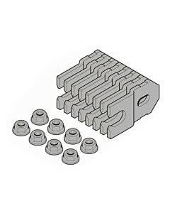 Hörmann Element mit Eckzarge für die verdeckte Montage in Sichtbetonwände und Sichtmauerwerk, Hörmann Befestigungslaschen und Futterstücke, 8 Laschen