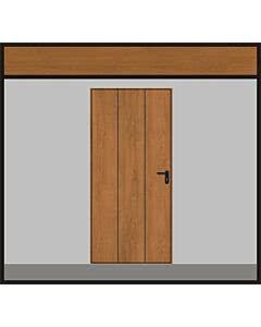Hörmann Garagen-Nebentüre Motiv 984, Golden Oak, Eckzarge, ansichtsgleich zu Hörmann Schwingtoren aus Stahl