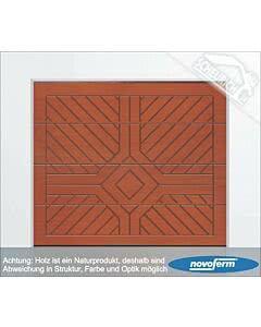 Novoferm NovoPort Holz- Sektionaltor Typ iso 45, Nordische Fichte unbehandelt, Modell Rom, Raute mit Strahlen, bis 5000 mm Breite (Tore)