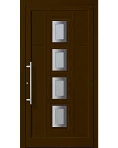 VSG / Float vollflächig, sandgestrahlt, Edelstahl-Stangengriff. Die Abbildung zeigt die Tür in Ausführung Glasfalz und RAL Farbe 8014 (diese oder Ihre Wunschfarbe gegen Aufpreis).