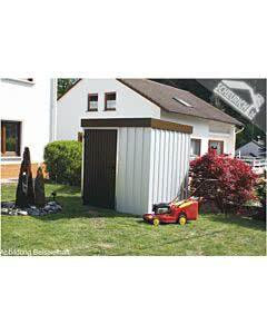 Siebau MZH 2 Standard verzinkt, Tür und Attika braun Metallgerätehaus Gerätehaus