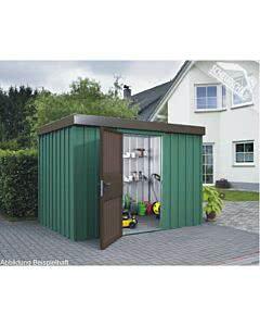 Siebau MZH 3 Elegance Dekorputz dunkelgrün, Tür und Attika braun - Metallgerätehaus Gerätehaus