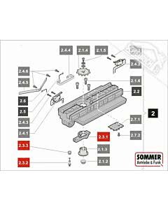 2.3 Sommer Laufwagenentriegelung komplett mit Pos. sprint 550 S, SL (TORANTRIEBE)