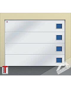 Teckentrup CarTeck Sektionaltor GSW 40-L, ohne Sicke, woodgrain, weiß, Verglasung Typ Quadrat 1 Polyurethan-Rahmen mit Holzstruktur