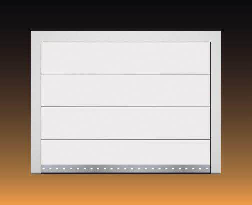 Hörmann Sektionaltor LPU40 Garagentor, L-Sicke, Farbe: weiß, Sandgrain, Design-Element Edelstahl-Sockelleiste mit oder ohne quadratischer Lochung Motiv 450 (ähnlich Haustür: 875)